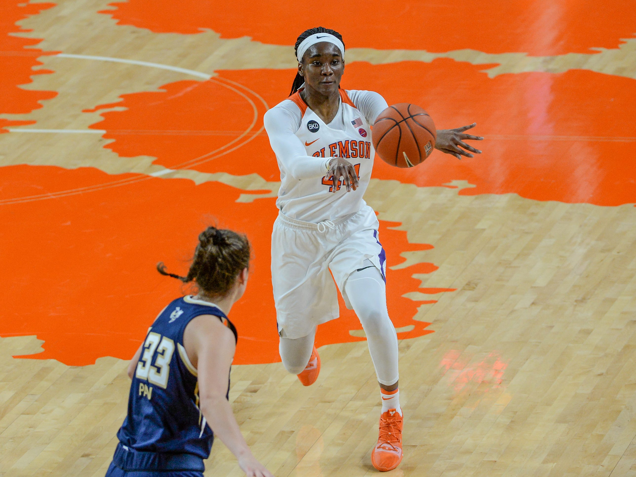 Clemson center Kobi Thornton(44) dribbles up court during the second quarter of the game with Georgia Tech at Littlejohn Coliseum in Clemson Thursday, January 17, 2019.