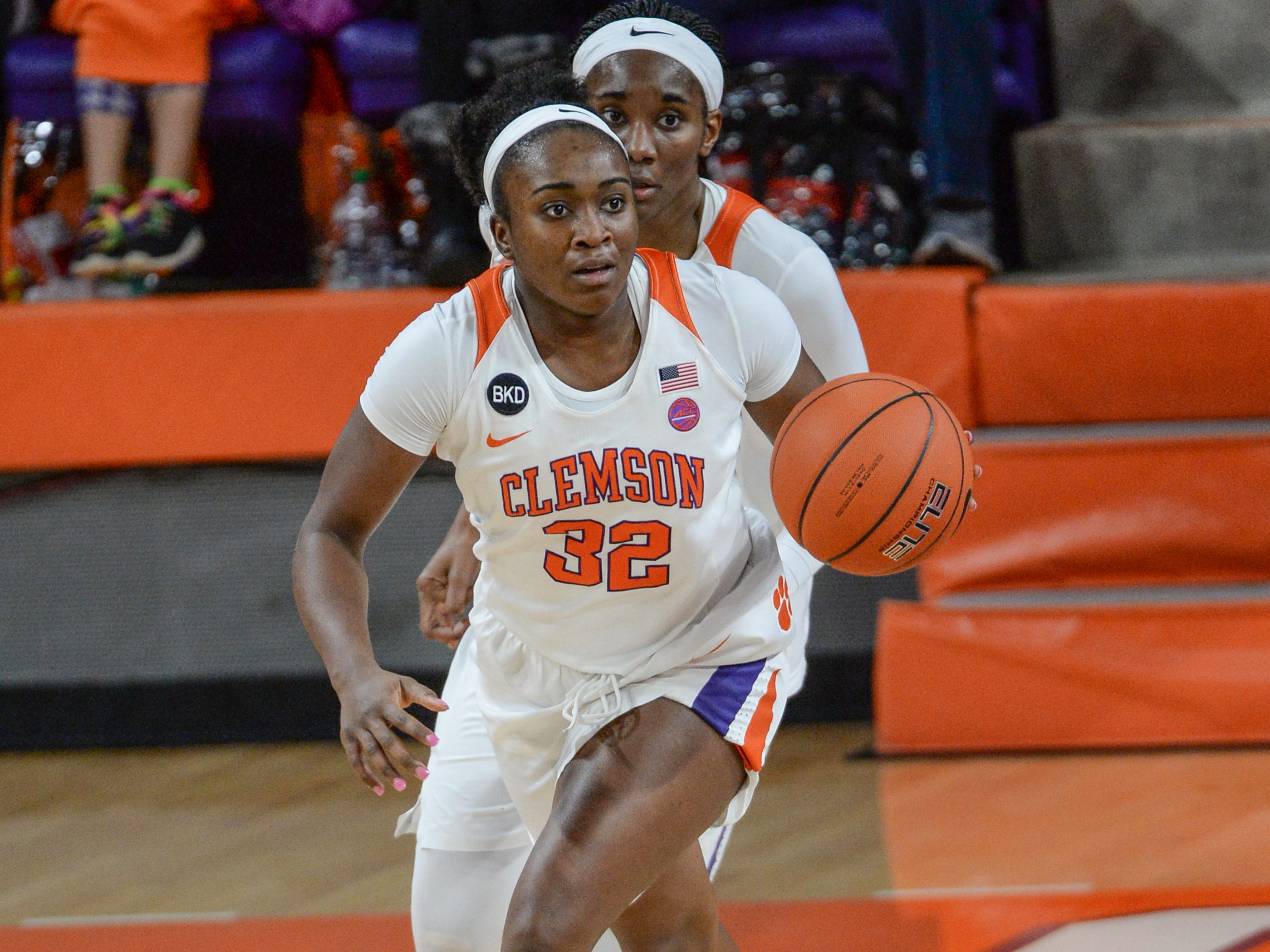 Clemson guard Chyna Cotton(32) dribbles up court during the second quarter of the game with Georgia Tech at Littlejohn Coliseum in Clemson Thursday, January 17, 2019.