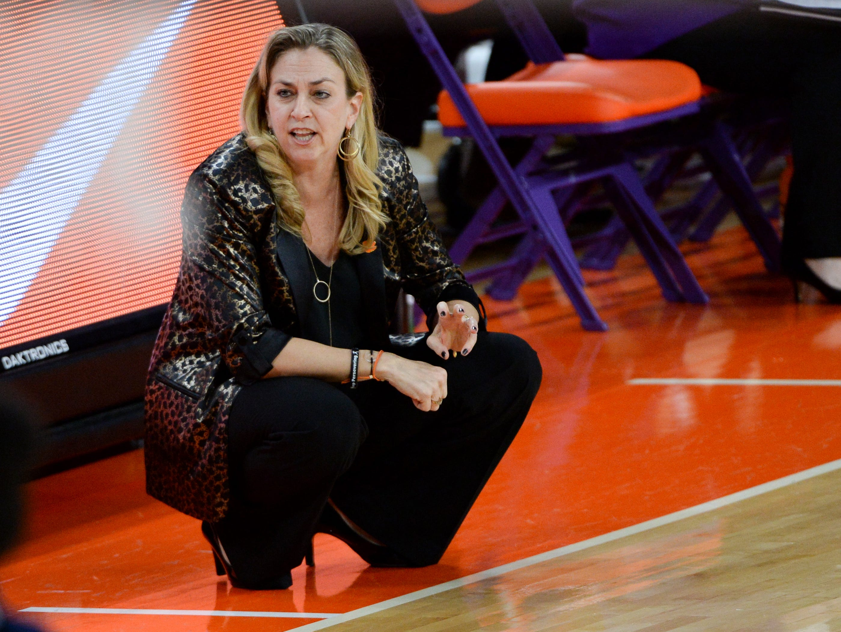 Clemson Head Coach Amanda Butler during the first quarter at Littlejohn Coliseum in Clemson Thursday, January 17, 2019.