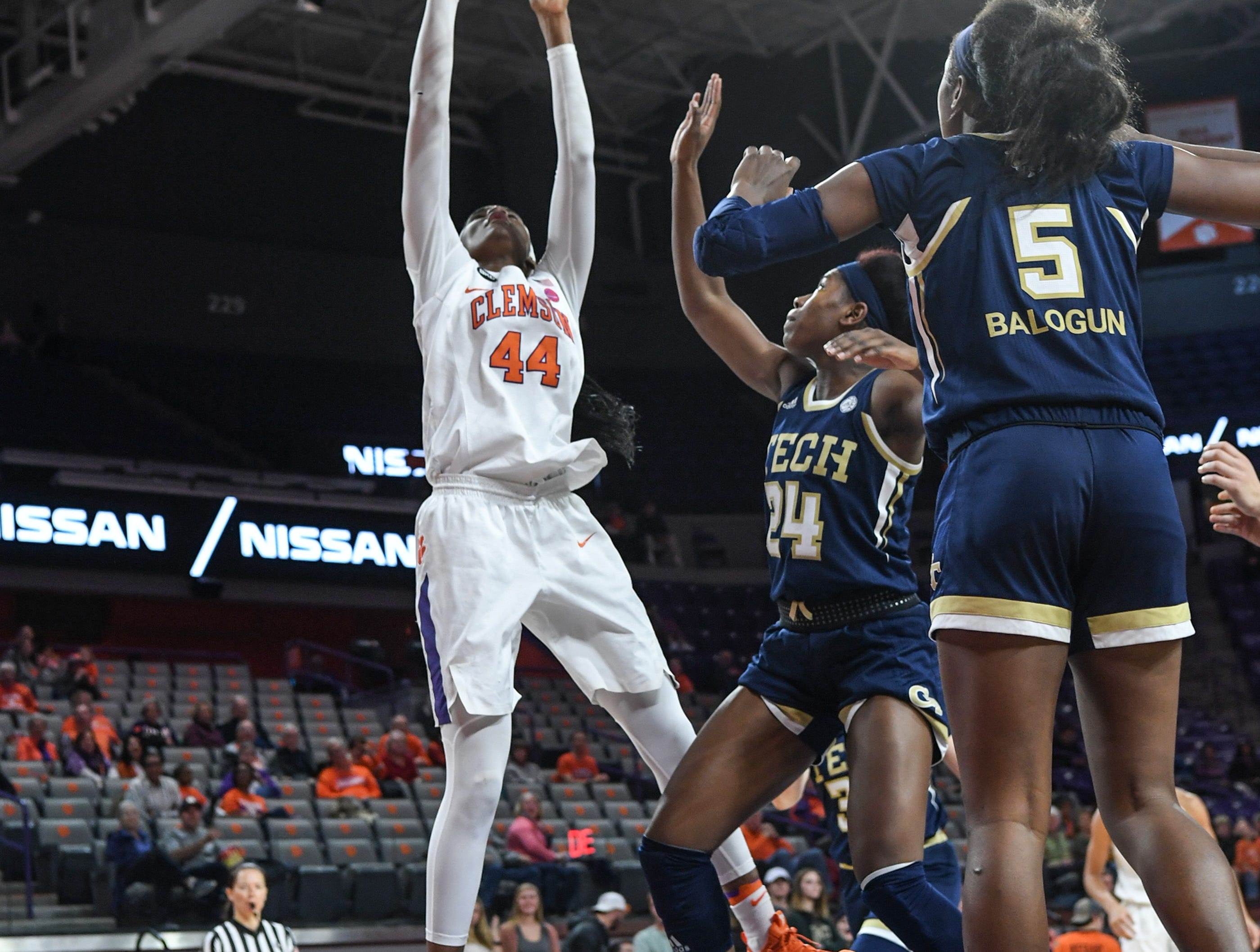 Clemson center Kobi Thornton(44) shoots near Georgia Tech guard Liz Balogun(5) during the fourth quarter at Littlejohn Coliseum in Clemson Thursday, January 17, 2019.