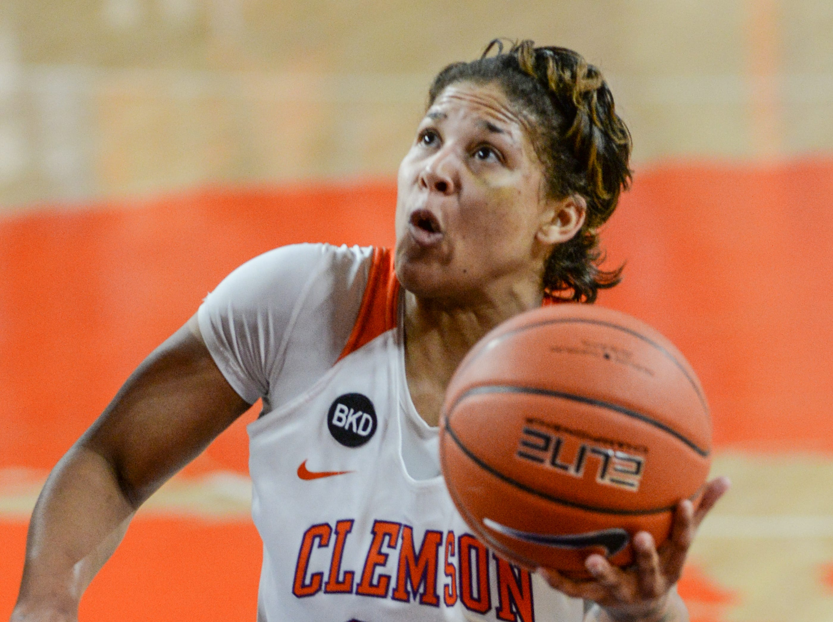 Clemson guard Simone Westbrook(20) shoots during the second quarter of the game with Georgia Tech at Littlejohn Coliseum in Clemson Thursday, January 17, 2019.