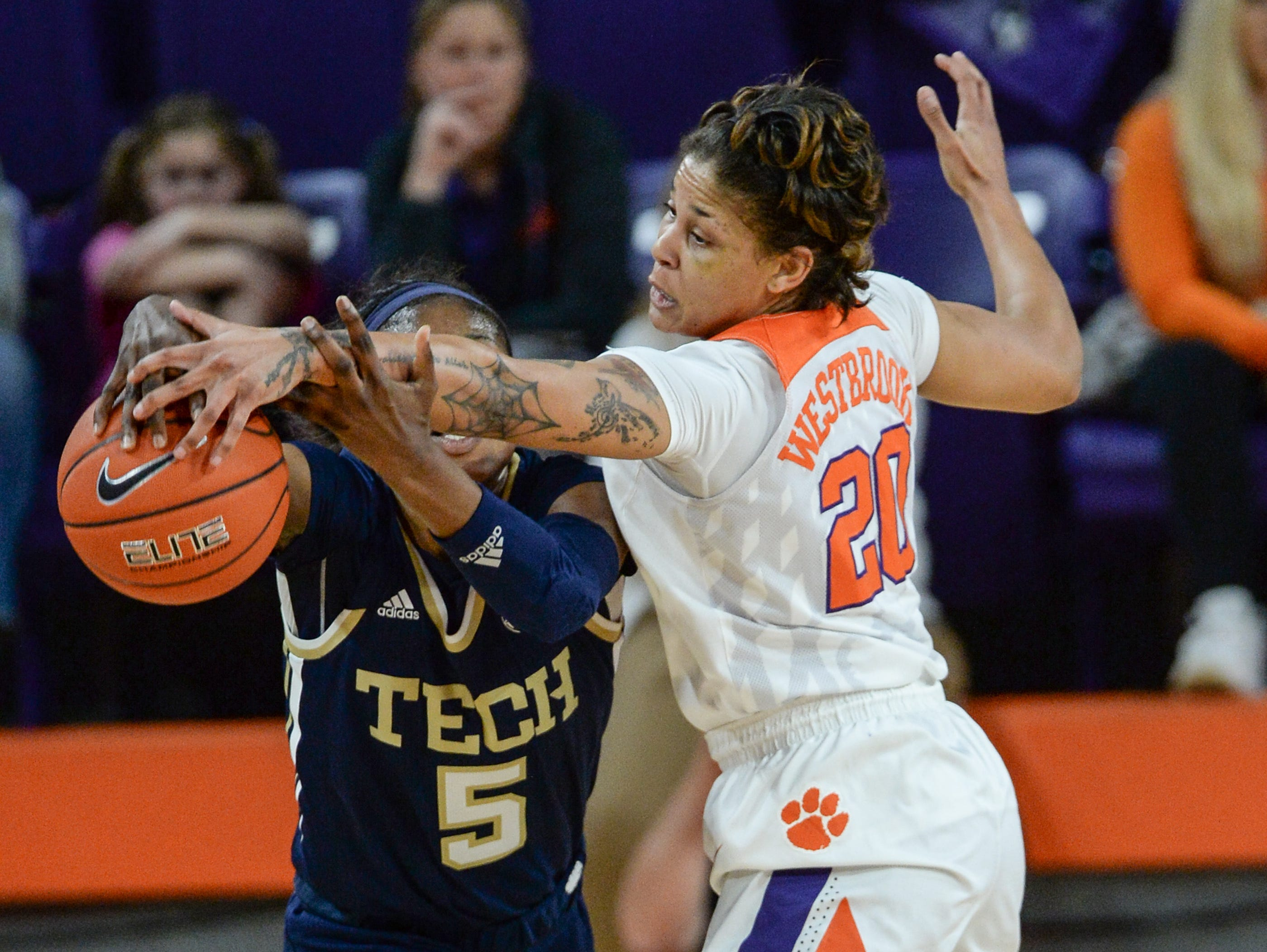Clemson guard Simone Westbrook(20) defends Georgia Tech guard Liz Balogun(5) during the second quarter at Littlejohn Coliseum in Clemson Thursday, January 17, 2019.