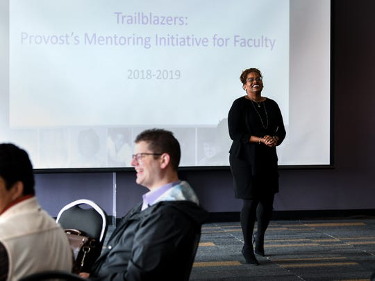 Cynthia Sims, right, leads several faculty trailblazers participating in the Tigers Advance Clemson event in a room at the Hendrix Student Center on campus Friday, January 18, 2019.