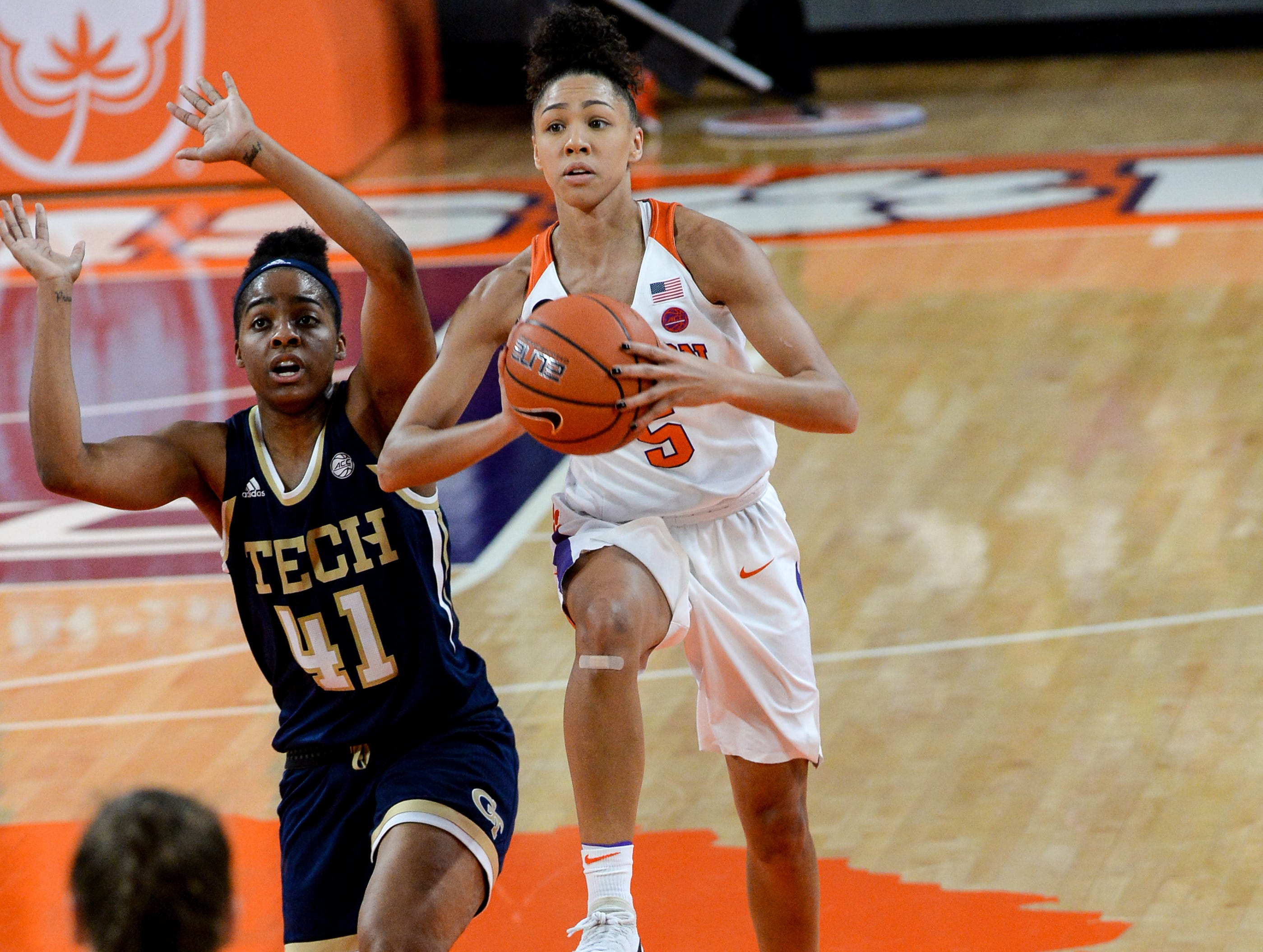 Clemson guard Danielle Edwards(5) shoots near Georgia Tech guard Kierra Fletcher(41) during the first quarter at Littlejohn Coliseum in Clemson Thursday, January 17, 2019.
