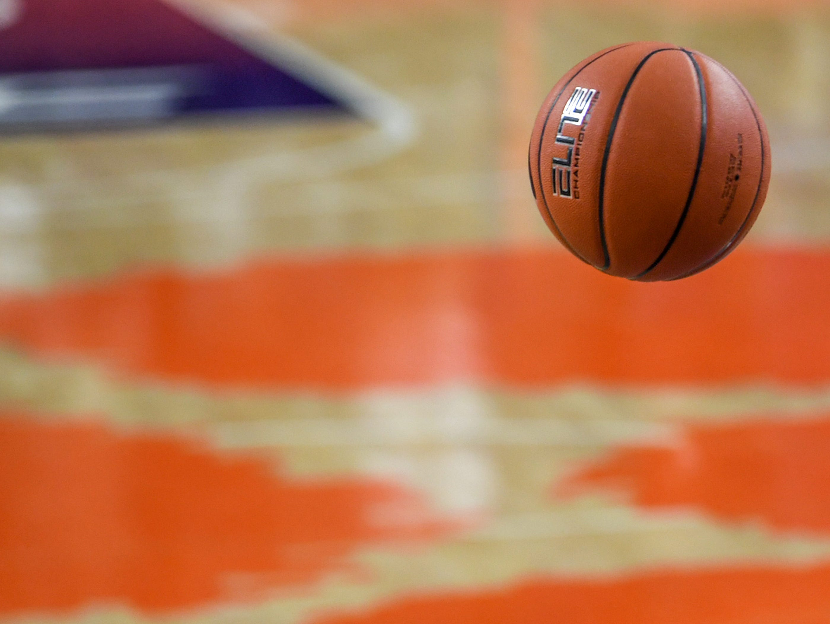 A ball falls though after a free throw during the first half at Littlejohn Coliseum in Clemson Thursday, January 17, 2019.