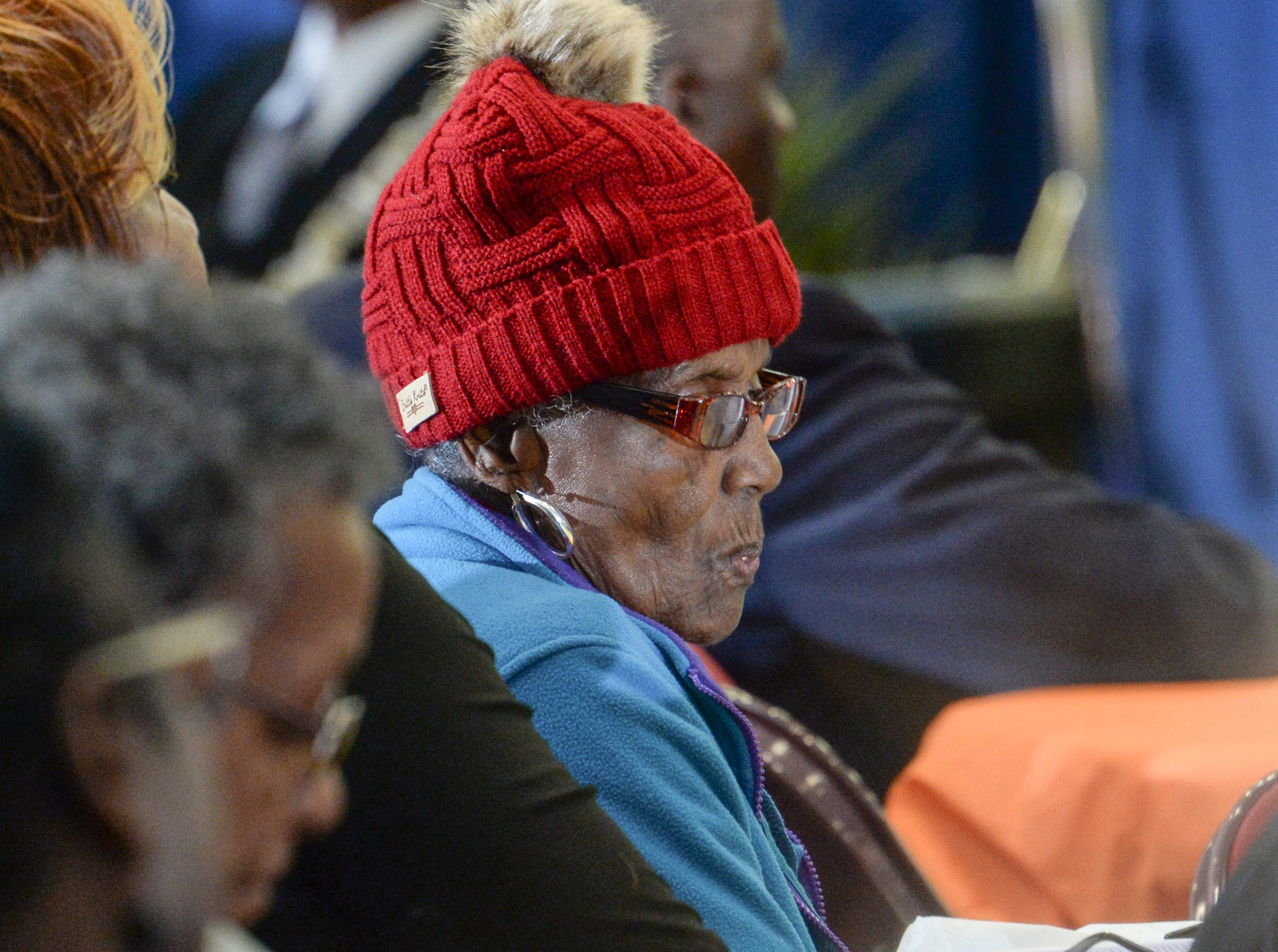 Estella Williams, a past Trailblazer award winner, listens during the Mayor's Martin Luther King Jr Breakfast in the Anderson Civic Center Friday, January 18, 2019.