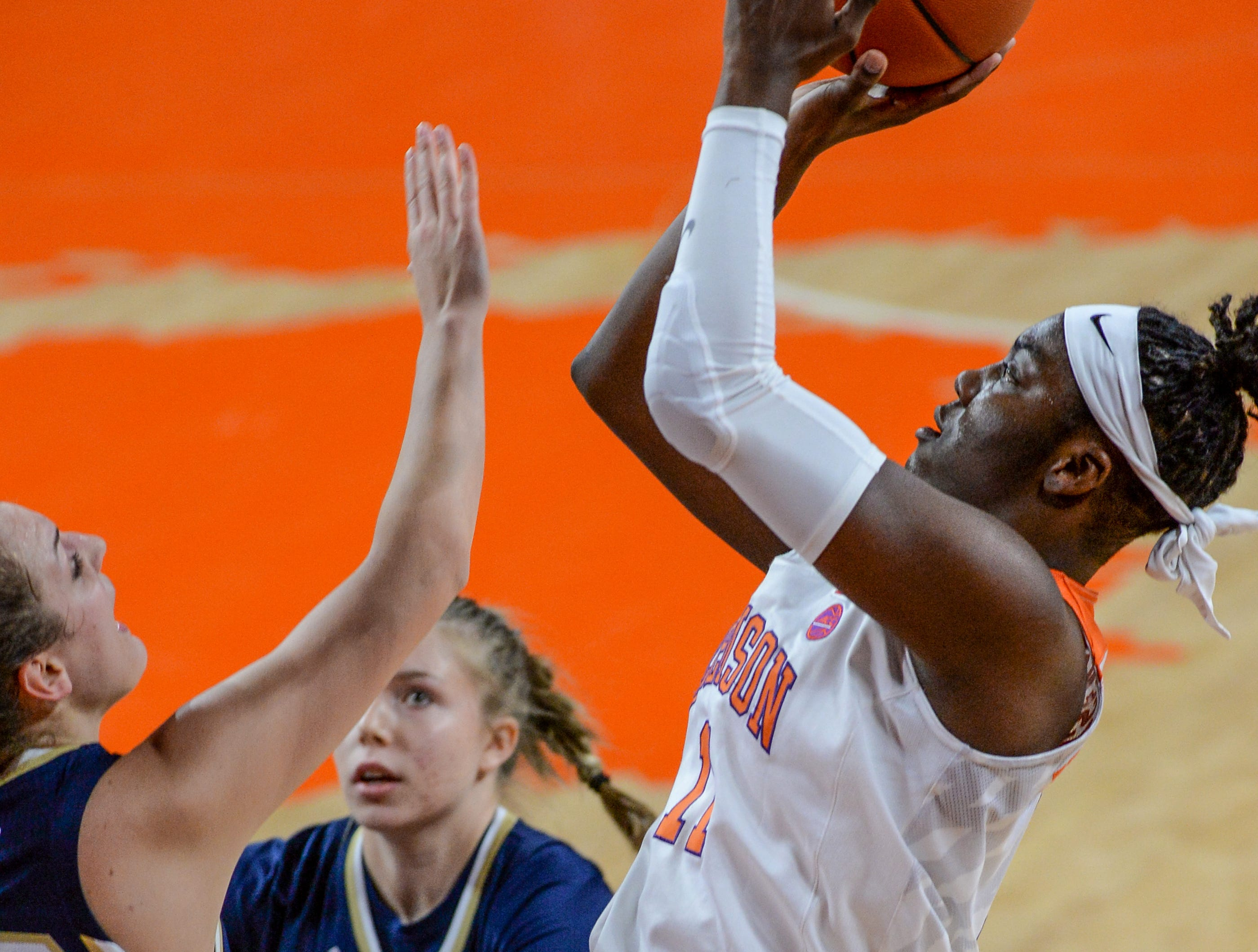 Clemson forward Taylor Hosendove(11) shoots near Georgia Tech guard Frescesca Pan(33) during the first quarter at Littlejohn Coliseum in Clemson Thursday, January 17, 2019.