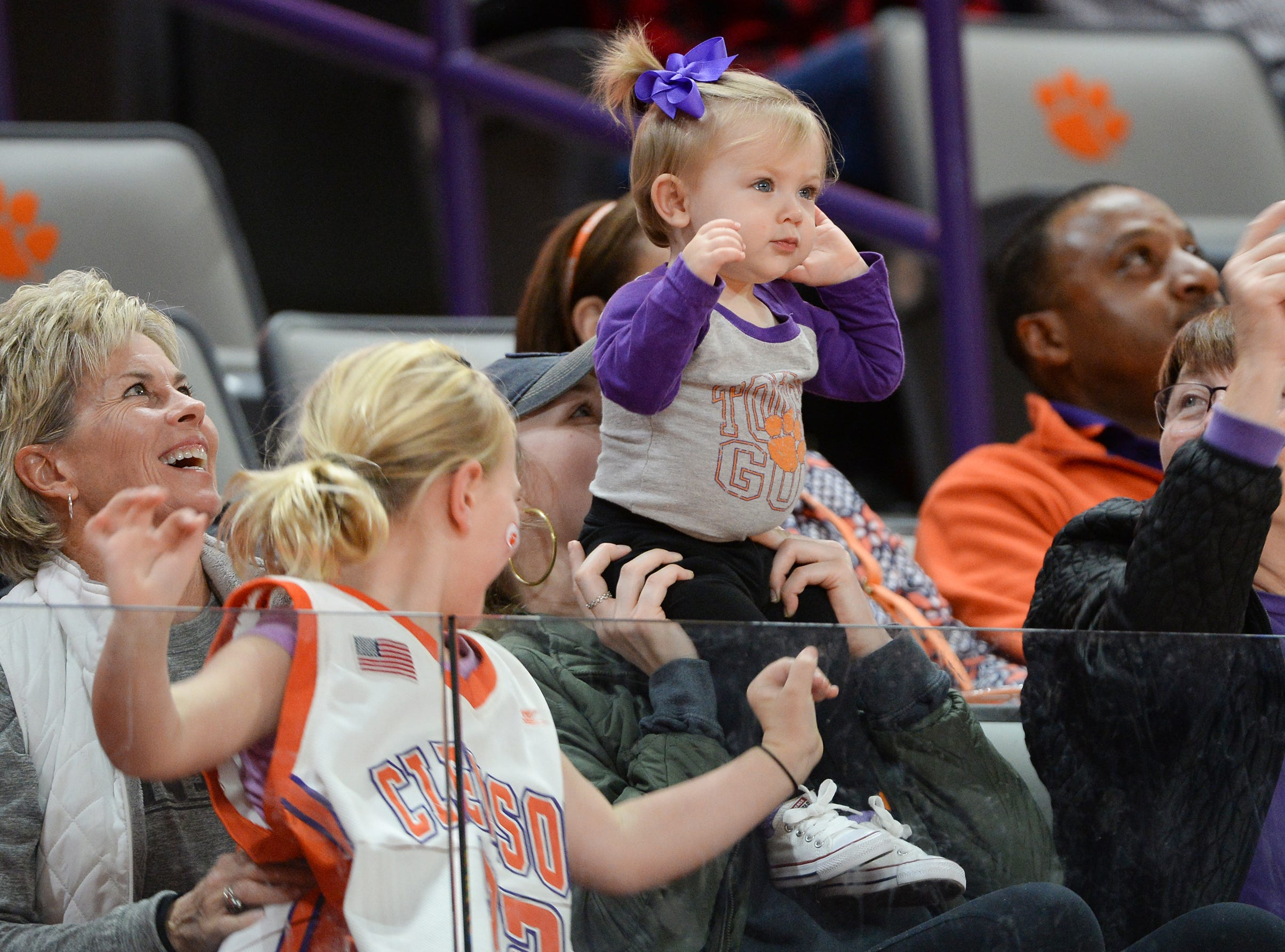 Clemson fans during the fourth quarter at Littlejohn Coliseum in Clemson Thursday, January 17, 2019.