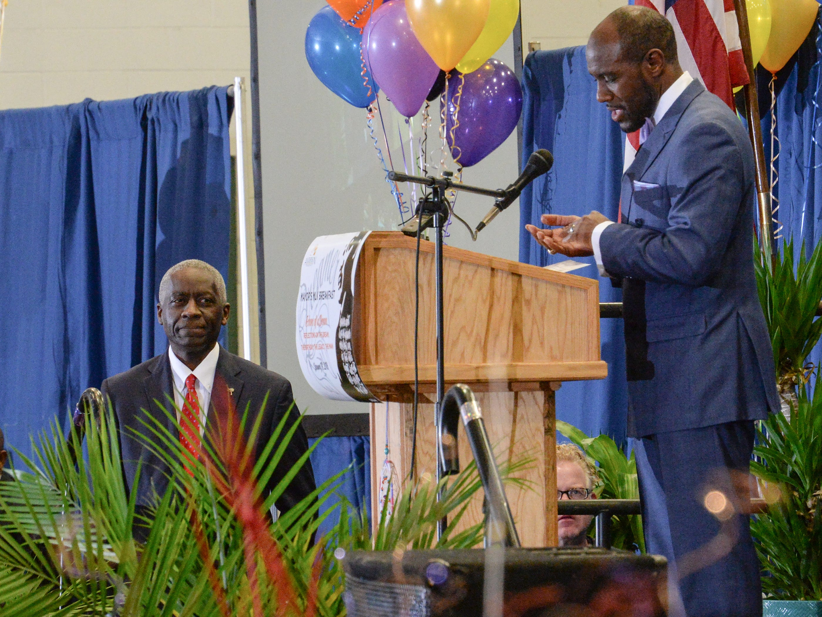 Dr. James Noble, right, introduces Mayor Terence Roberts during the Mayor's Martin Luther King Jr Breakfast in the Anderson Civic Center Friday, January 18, 2019.