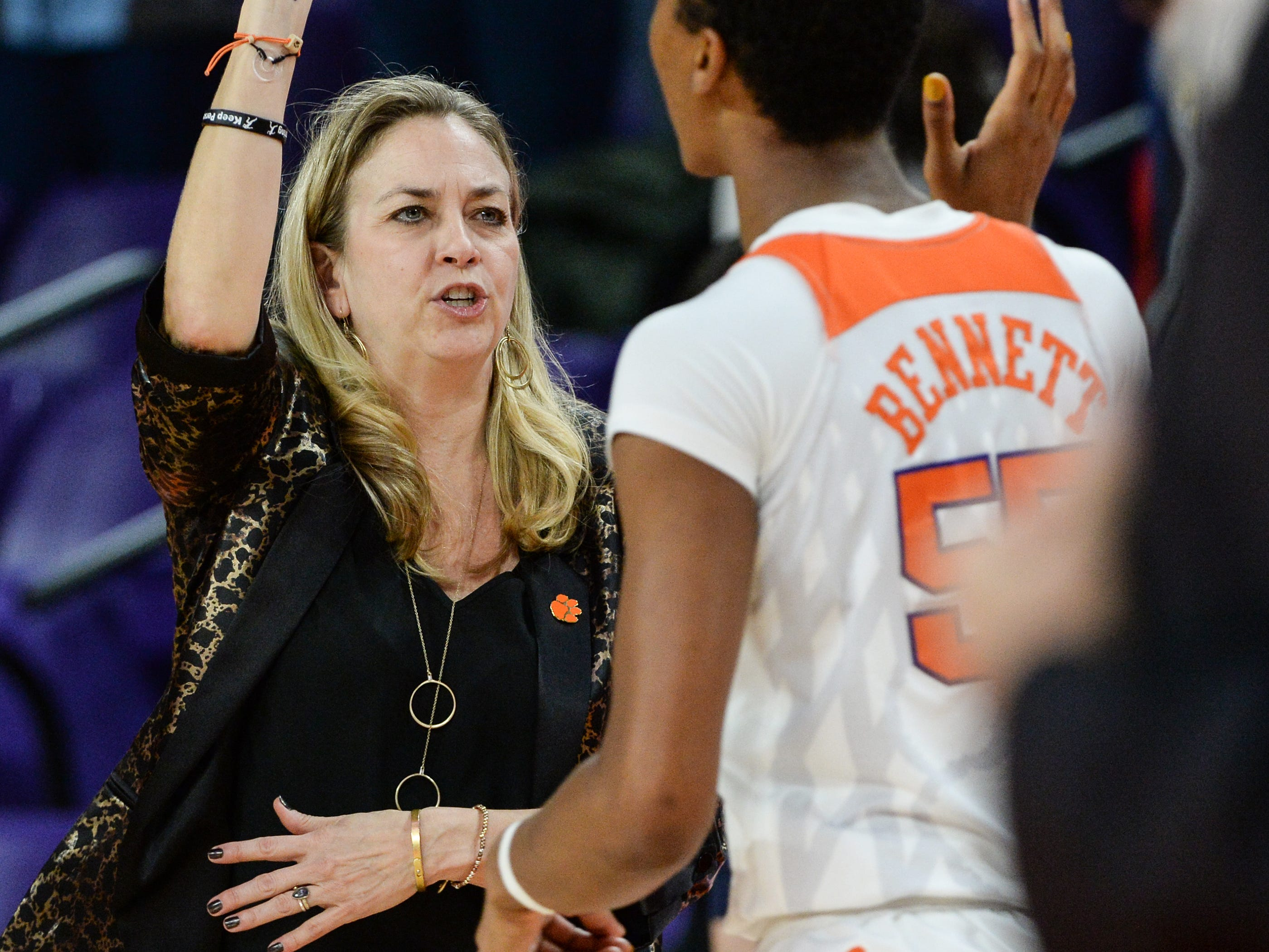 Clemson Head Coach Amanda Butler high-fives center Tylar Bennett(55) after their 71-61 win over Georgia Tech after the gameat Littlejohn Coliseum in Clemson on Thursday, January 17, 2019.