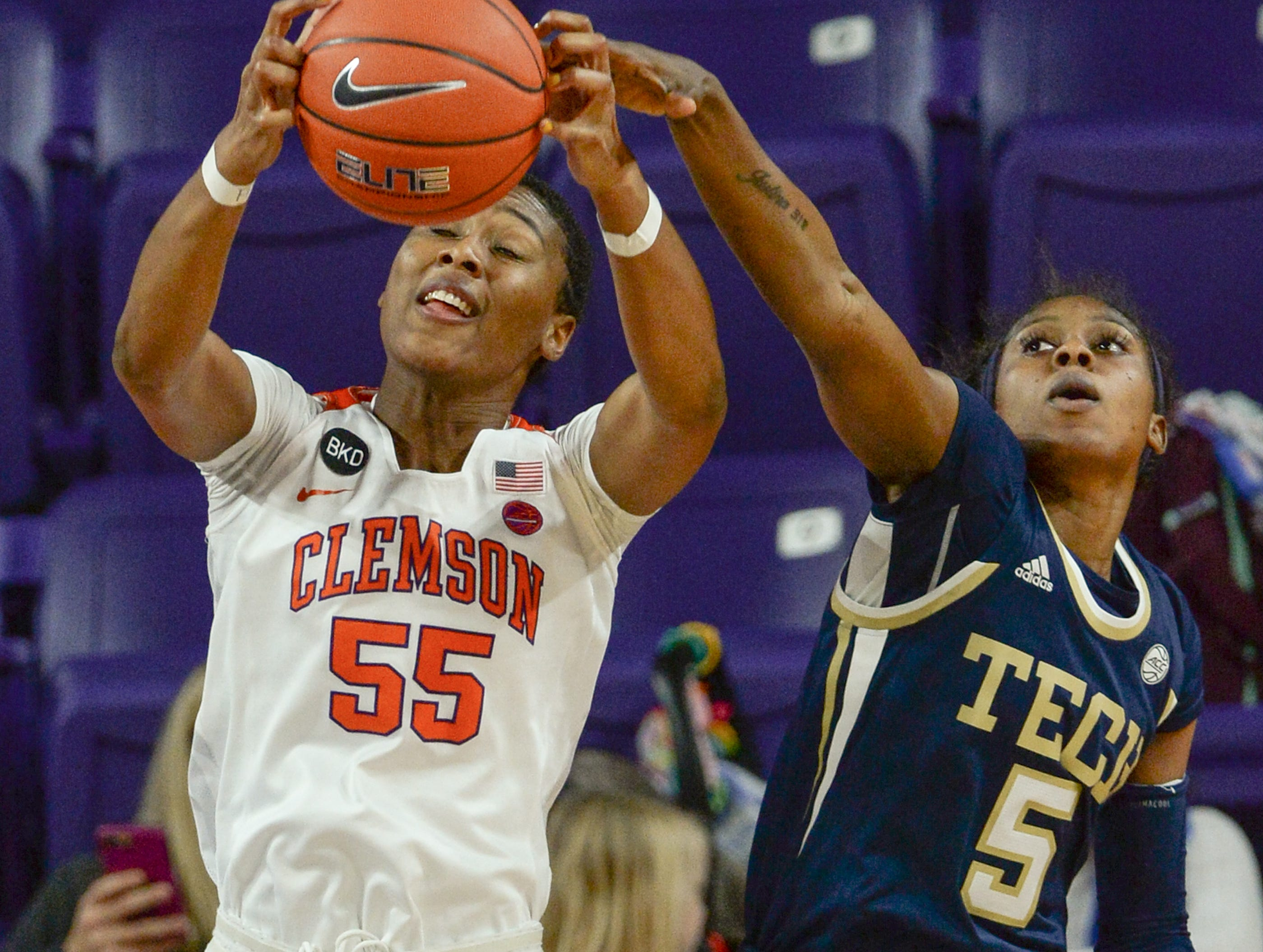 Clemson center Tylar Bennett(55) rebounds near Georgia Tech guard Liz Balogun(5) during the second quarter at Littlejohn Coliseum in Clemson Thursday, January 17, 2019.