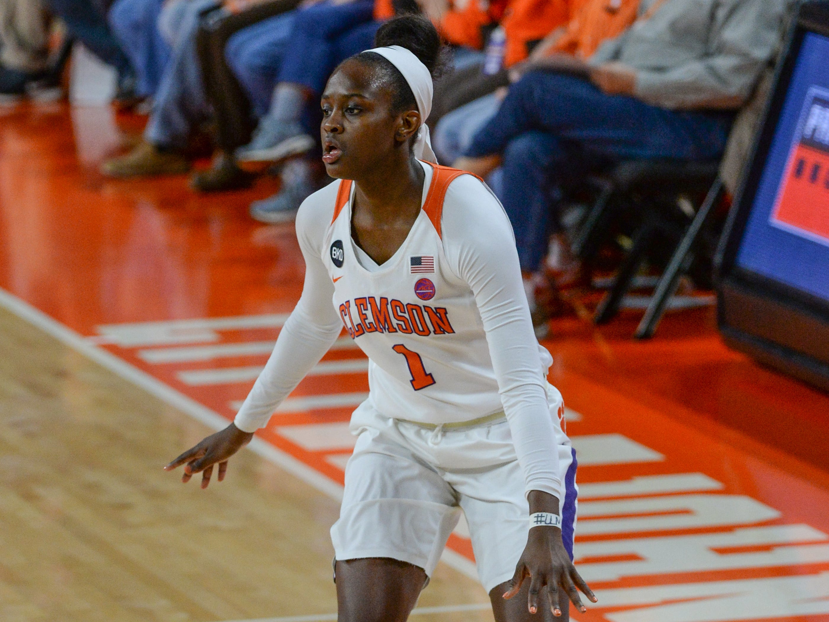 Clemson guard Destiny Thomas(1) during the second quarter of the game with Georgia Tech at Littlejohn Coliseum in Clemson Thursday, January 17, 2019.