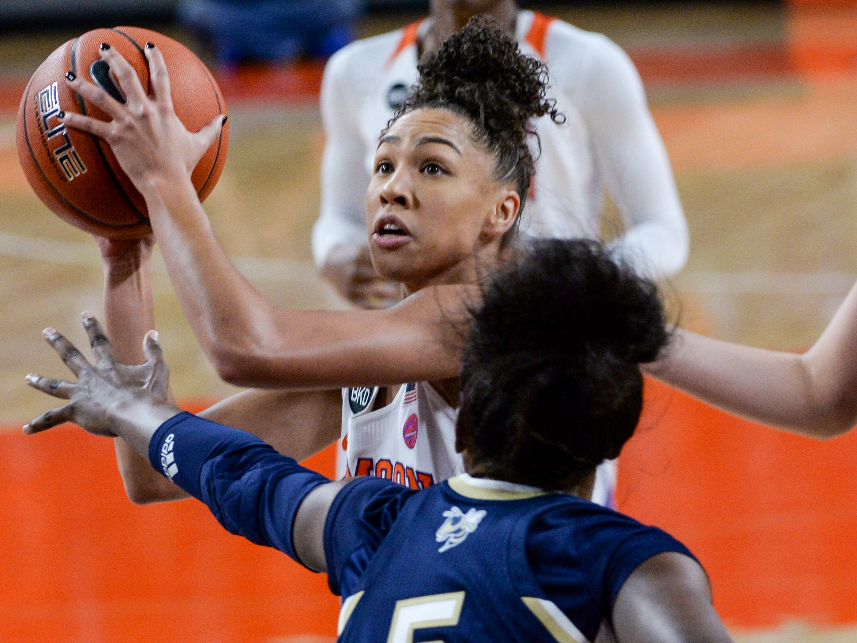 Clemson guard Danielle Edwards(5) shoots near Georgia Tech guard Liz Balogun(5) during the second quarter at Littlejohn Coliseum in Clemson Thursday, January 17, 2019.