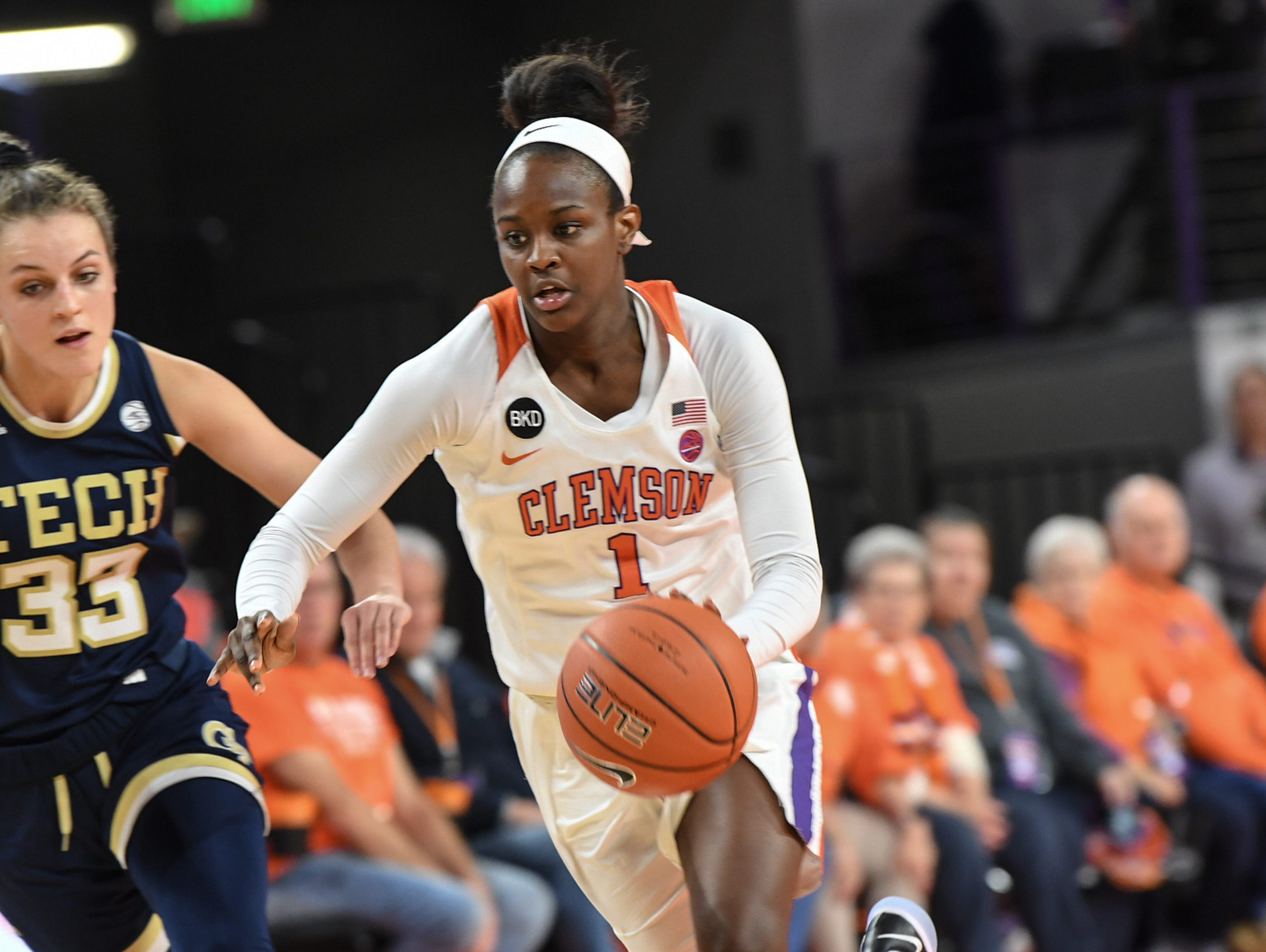 Clemson guard Destiny Thomas(1) dribbles near Georgia Tech guard Frescesca Pan(33) during the fourth quarter at Littlejohn Coliseum in Clemson Thursday, January 17, 2019.