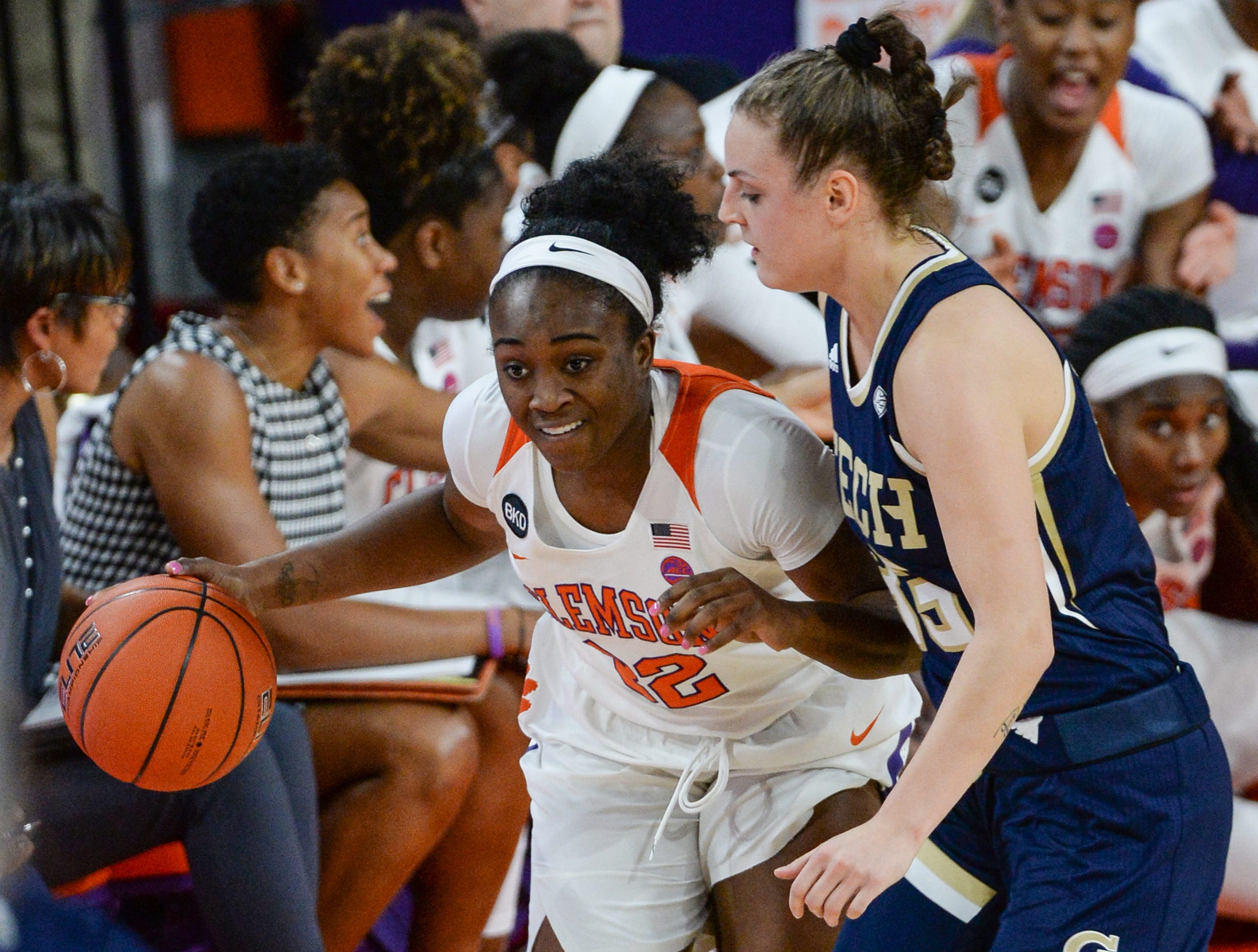 Clemson guard Aliyah Collier(12) dribbles near Georgia Tech guard Frescesca Pan(33) during the first quarter at Littlejohn Coliseum in Clemson Thursday, January 17, 2019.