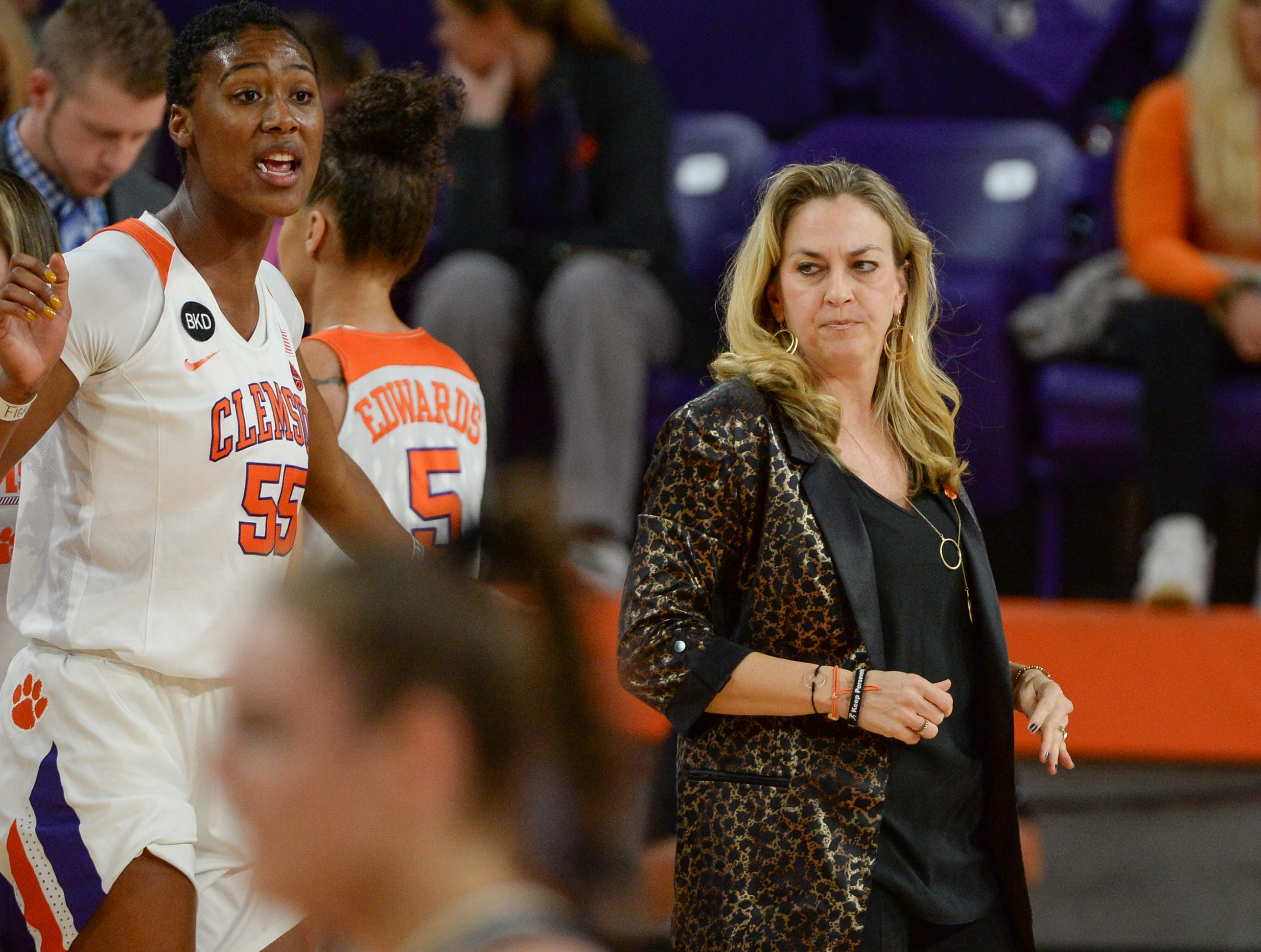Clemson Head Coach Amanda Butler during the second quarter of the game with Georgia Tech at Littlejohn Coliseum in Clemson Thursday, January 17, 2019.