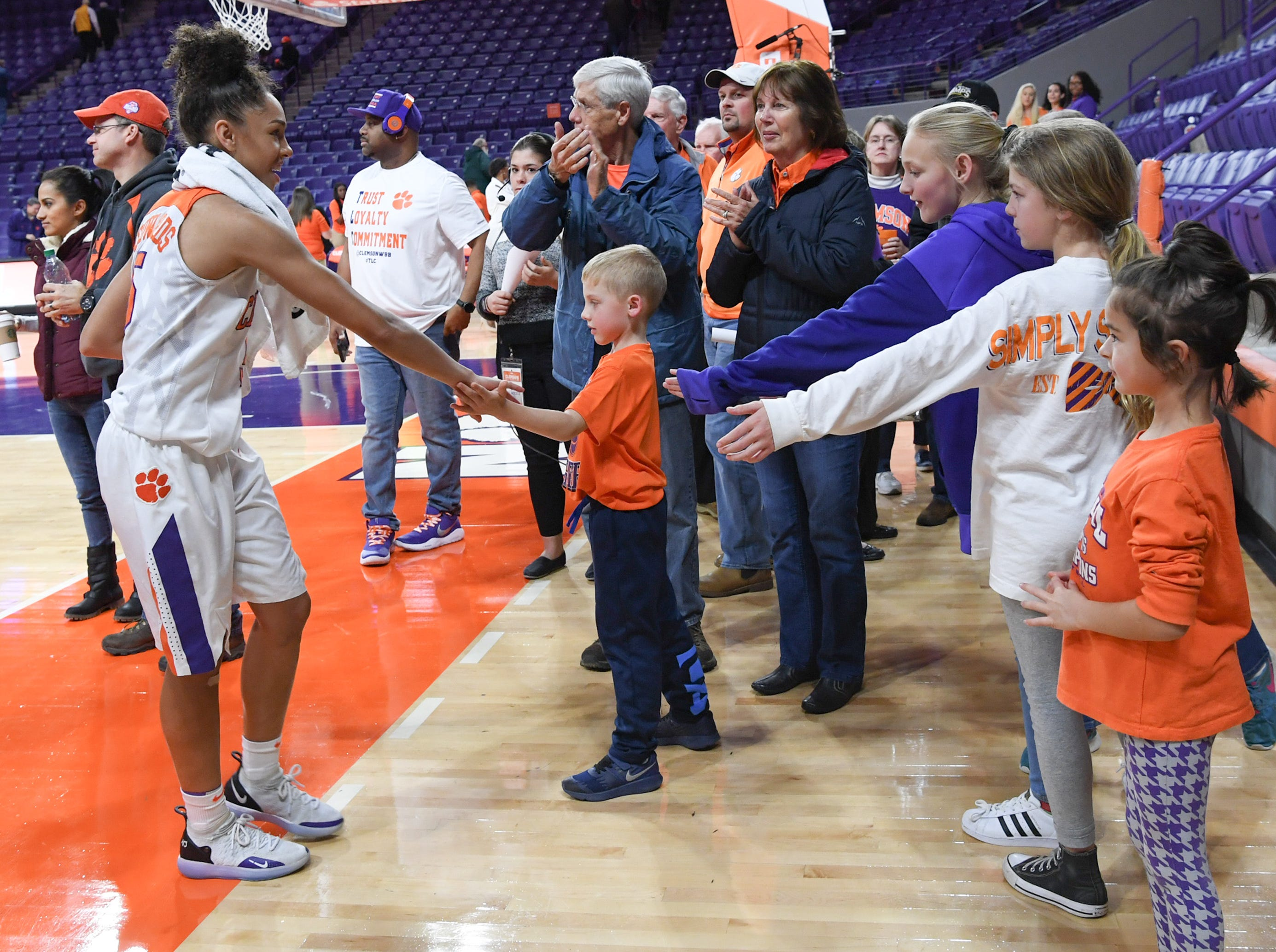 Clemson guard Danielle Edwards(5) greets fans after their win over Georgia Tech in Clemson Thursday, January 17, 2019.