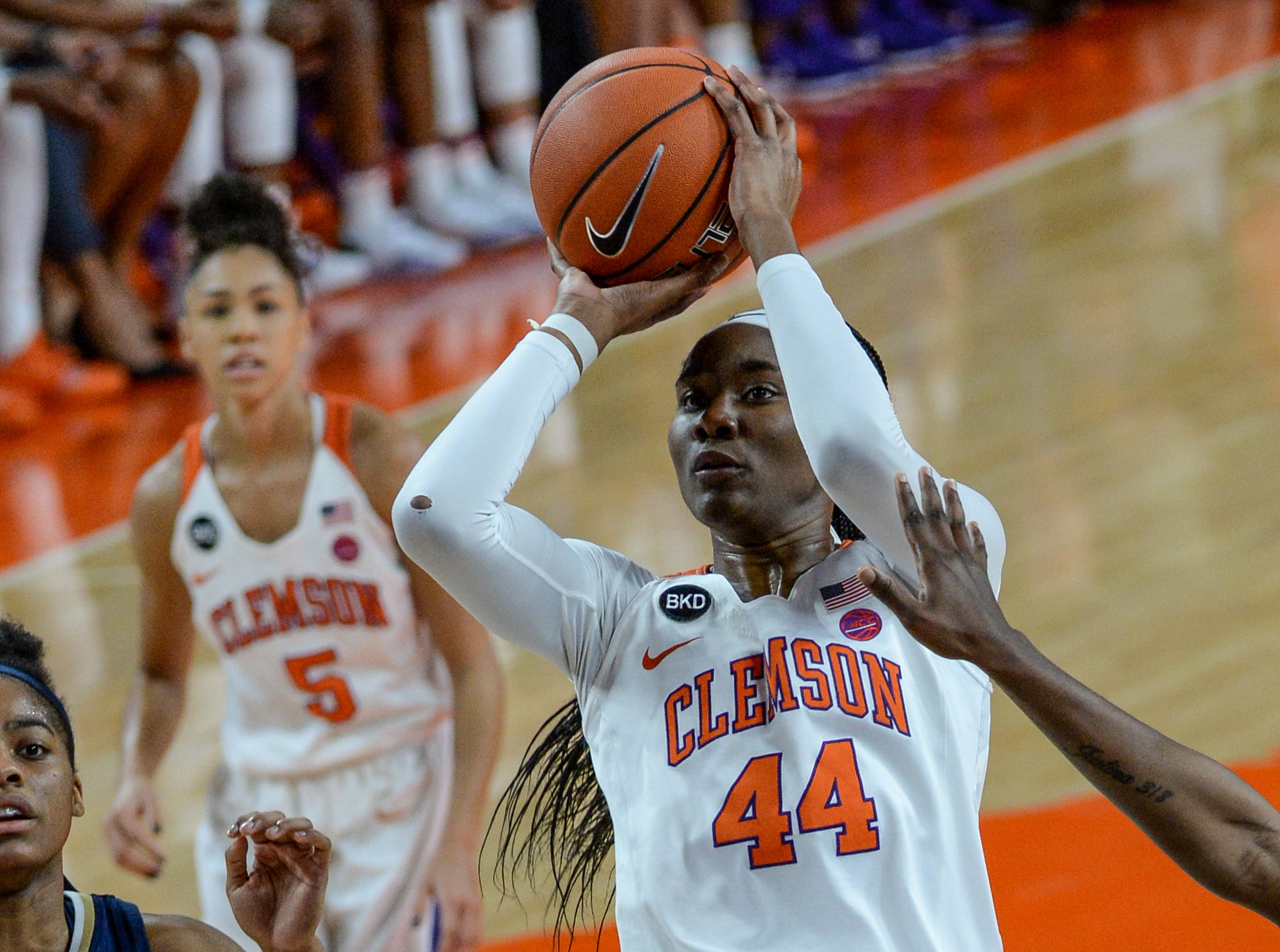 Clemson center Kobi Thornton(44) shoots near Georgia Tech guard Kierra Fletcher(41) during the first quarter at Littlejohn Coliseum in Clemson Thursday, January 17, 2019.