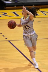 Hardin-Simmons guard Maria Fernandez (35) calls out a play against Howard Payne at the Mabee Complex on Thursday, Jan. 17, 2019.