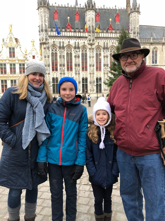 Dick Veigel spent Christmas in 2017 in Brugge, Belgium with his daughter Tracy and grandchildren Aiden and Thea McKenna.