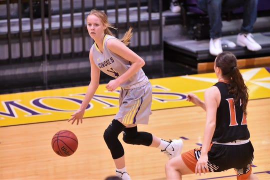 Hardin-Simmons forward Karlea Ritchie (14) has made a difference when in the lineup. Ritchie missed five games in the middle of the season due to an injury.