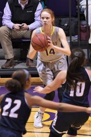 Karlea Ritchie (14) has been a versatile weapon for Hardin-Simmons this season. The Cowgirls are 10-2 with Ritchie in the lineup this season.