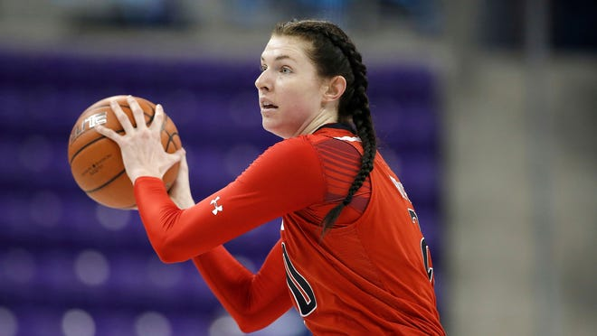 Texas Tech forward Brittany Brewer (20) looks to pass against TCU on Wednesday, Jan. 16, 2019, in Fort Worth.