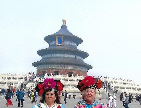 Linda Lightfoot and Christine Brockman visit the Temple of Heaven in Beijing, China.