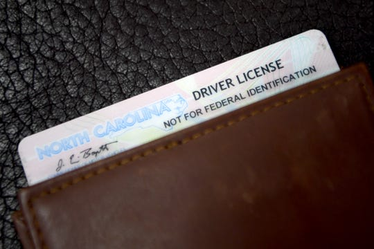 "A North Carolina driver license labelled ""not for federal identification""."
