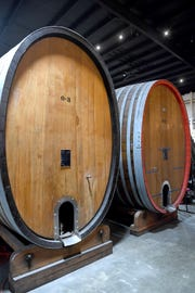 Foeders, or giant aging barrels, will soon become booths in the new restaurant, Cultura, attached to Wicked Weed's Funkatorium on the South Slope.
