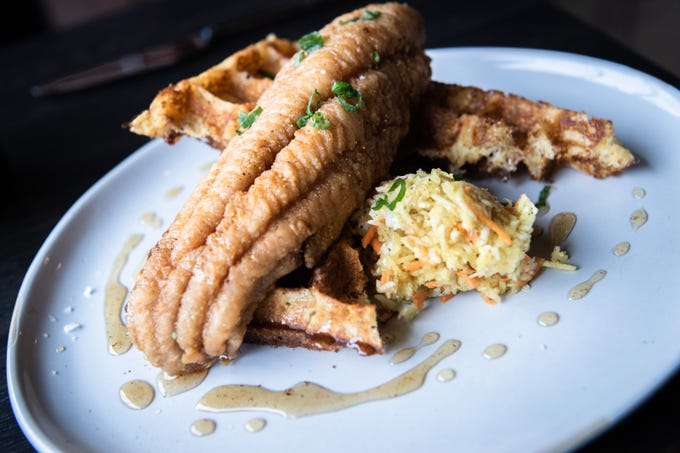 Fried catfish and waffles offered at Benne on Eagle at the Foundry Hotel.