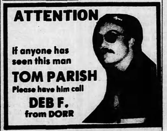 A screenshot of an ad from the Sept. 7, 1986, issue of the Battle Creek Enquirer.