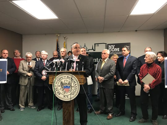 Binghamton Mayor Richard David meets with local mayors, supervisors and state representatives Friday to discuss the potential loss of state AID funding.