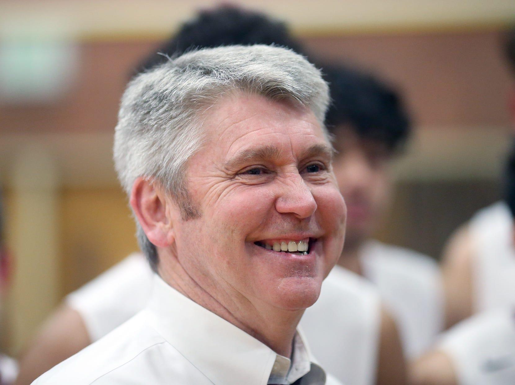 South Kitsap High School varsity head basketball coach John Callaghan won his 300th game against Bellarmine at South Kitsap on Thursday, January 17, 2019.