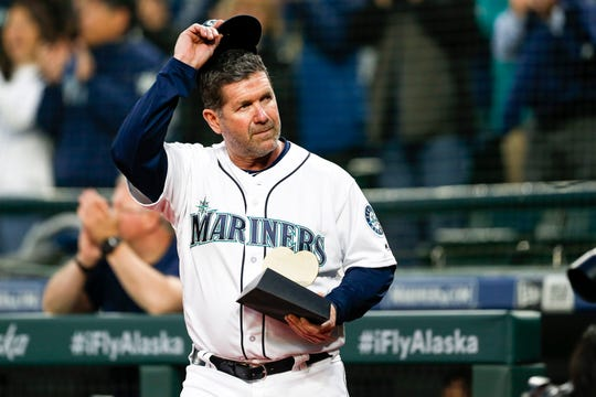 Edgar Martinez, then the Mariners' hitting coach, before a 2018 game at Safeco Field.