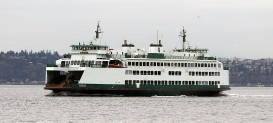 The ferry Kitsap leaves Vashon Island and heads toward Southworth on Friday. Ridership on the Southworth-Vashon route grew by 9 percent in 2018, the most of any route in the Washington State Ferries system.