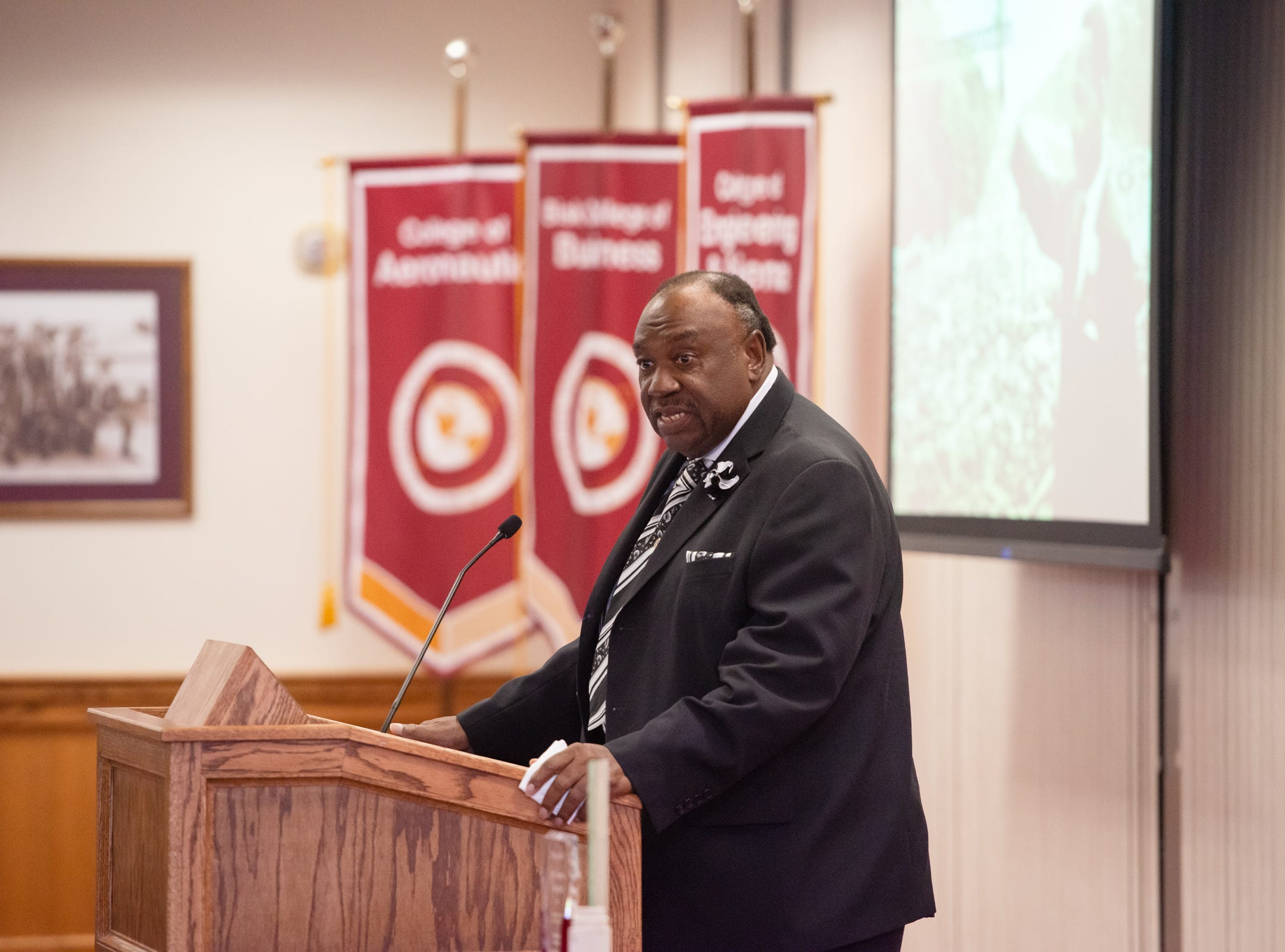 "Leonard D. Ross presents Dr. King's ""I Have a Dream"" speech at the Julius Montgomery Pioneer Award and the Dr. Harvey L. Riley Bridge Builder Award presentation in celebration of Martin Luther King Jr. Day."