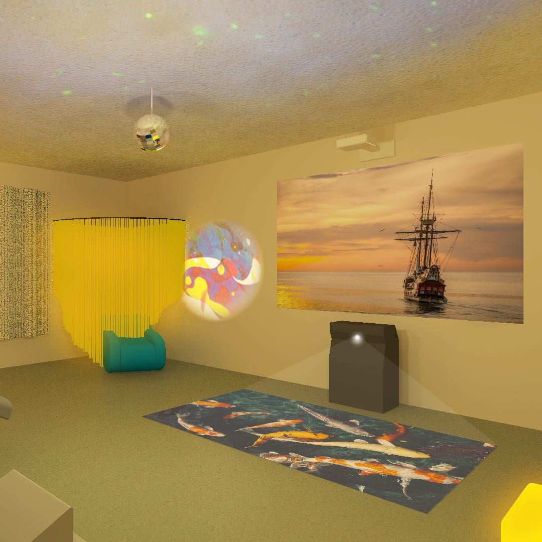 Dementia patients responding to sensory therapy rooms