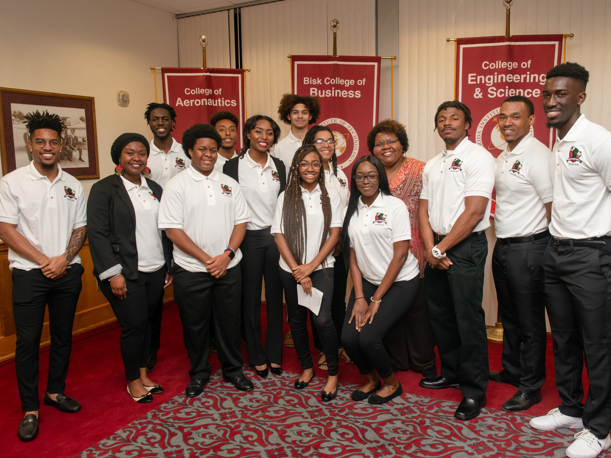 Members of Florida Tech's Black Student Union at the Julius Montgomery Pioneer Award and the Dr. Harvey L. Riley Bridge Builder Award presentation in celebration of Martin Luther King Jr. Day.