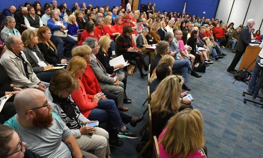 Members of the public filled the seats at Brevard County legislative delegation meeting, held in the Palm Bay Council Chambers, to discuss a wide range of issues. The environment was one of the key topics addressed.