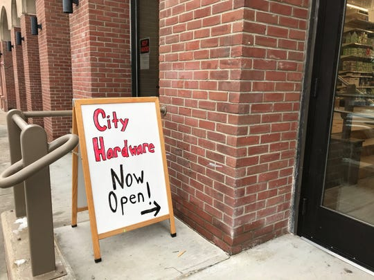 City Hardware in downtown Burlington is open, but didn't yet have a permanent sign as of Friday.