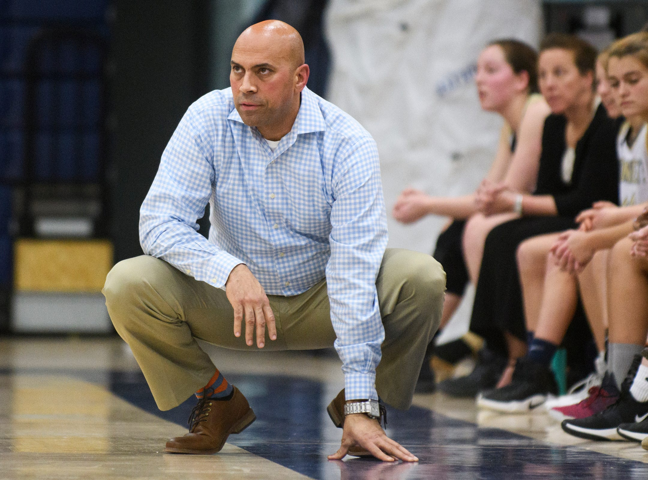 Essex head coach Shawn Montague watches the action on the court during the girls basketball game between the St. Johnsbury Hilltoppers and the Essex Hornets at Essex High School on Thursday night January 17, 2019 in Essex.