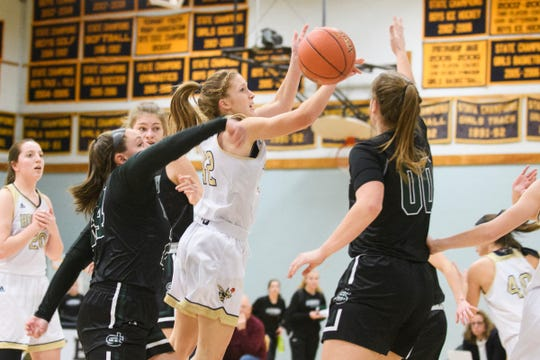 Anna Sabourin is one of the returnees for the Hornets girls basketball team this winter.