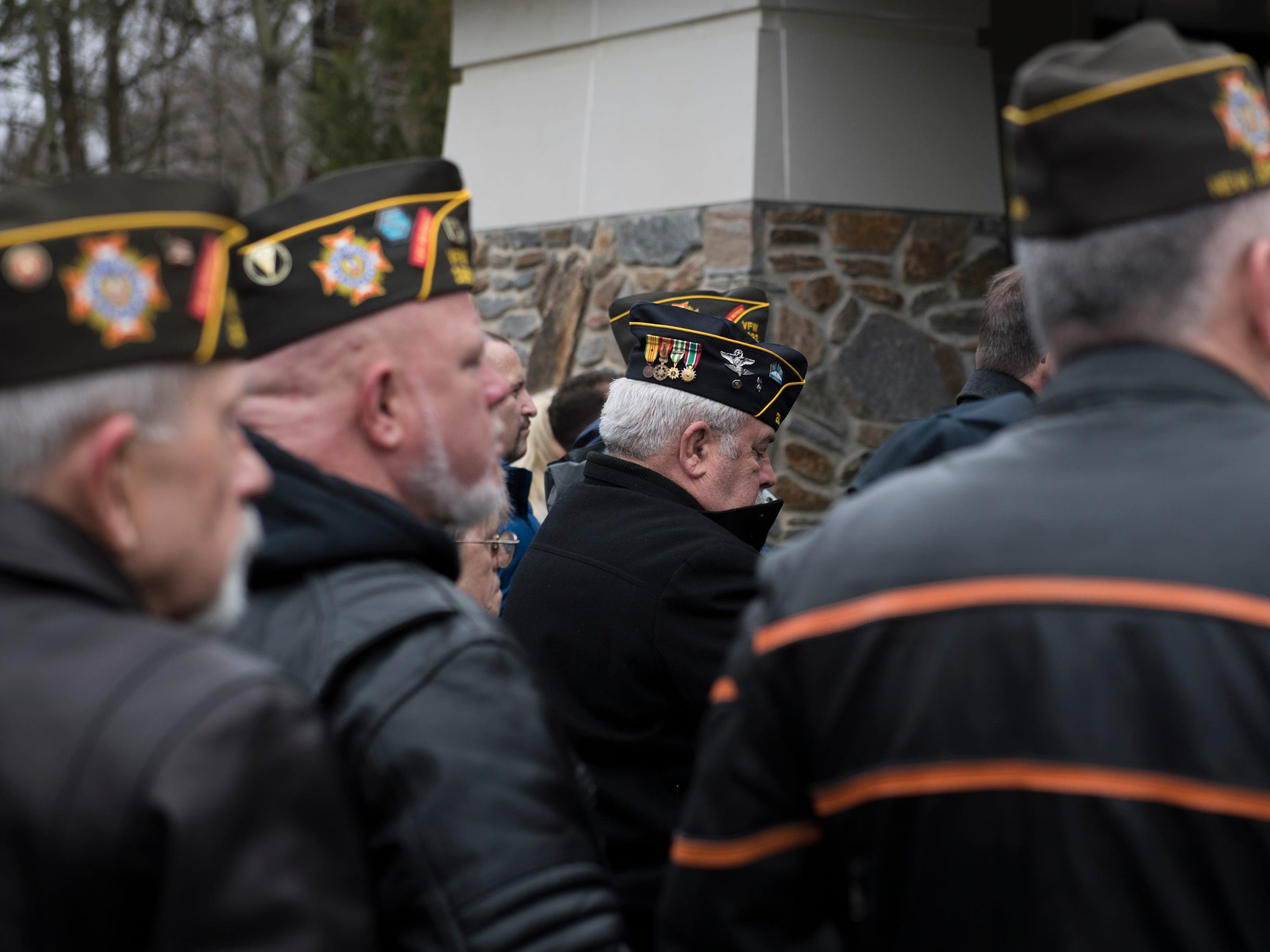 Several hundreds gather as a funeral for Vietnam veteran Peter Turnpu is held Friday, Jan. 18, 2019 in North Hanover, N.J.