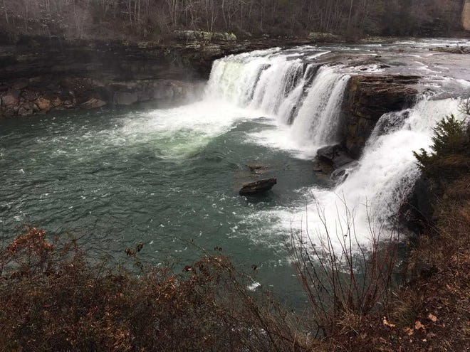 The Little River Falls flow down Little River Canyon in Northeastern Alabama.