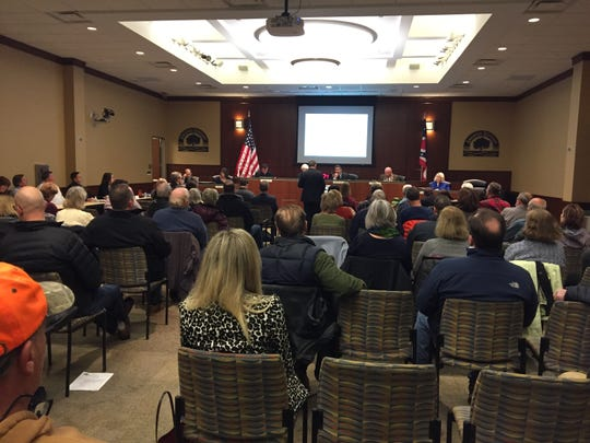 Anderson Township Trustees had a nearly full house during its Jan. 17 meeting where it held a public hearing for a proposed zone change.