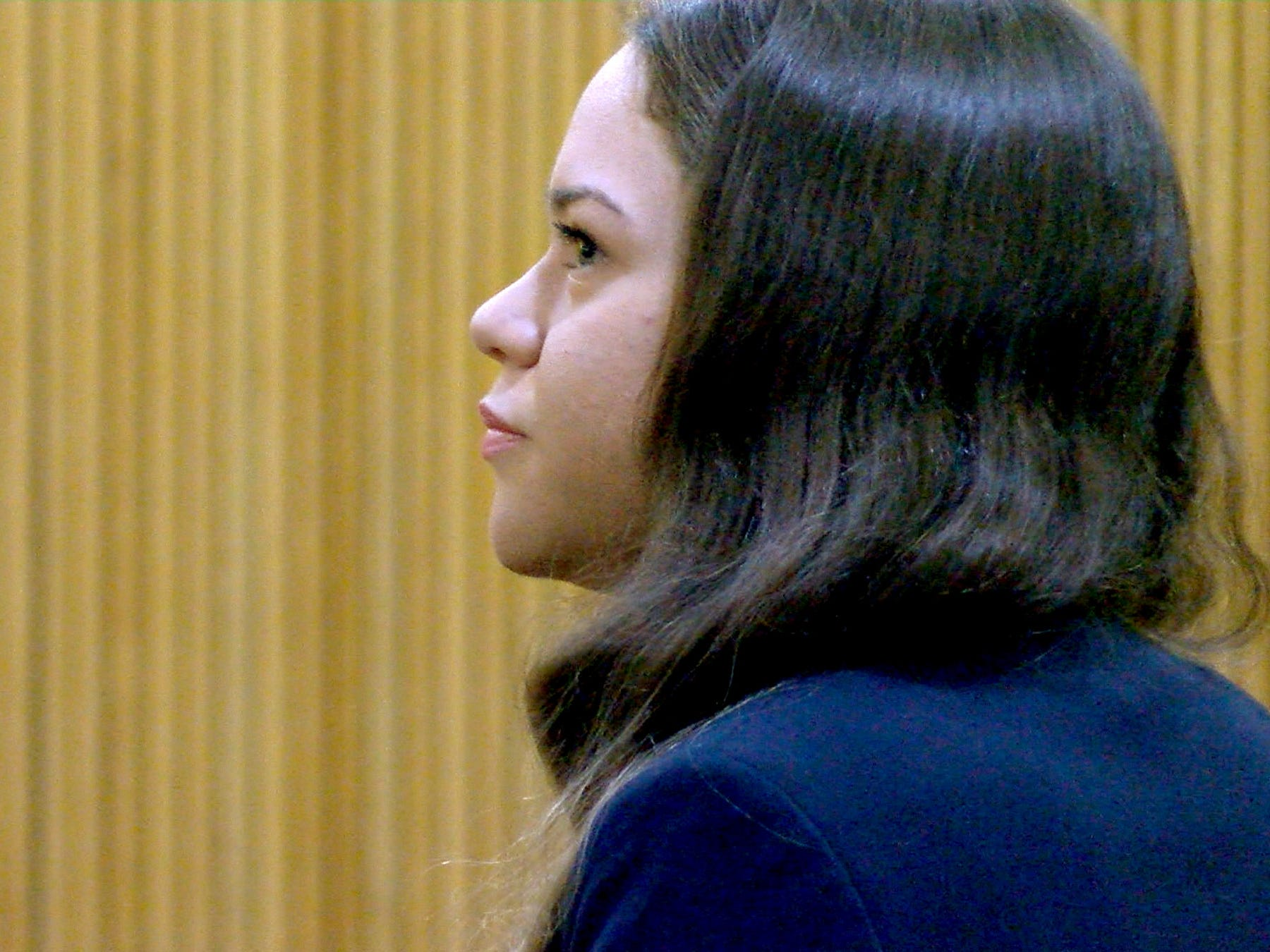 Brookdale Community College honors student Raquel Garajau is shown in State Superior Court in Freehold Friday, January 18, 2019 before she was sentenced to a 33 year prison term for felony murder and other offenses related to the death of marijuana dealer Trupal Patel.