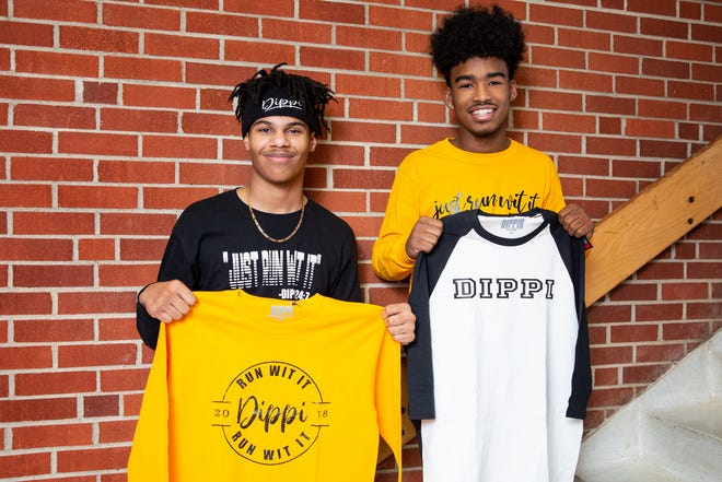 Roosevelt High sophomores Asante Scott and DeVonte Fristo are designing their own clothes line, called Dippi.