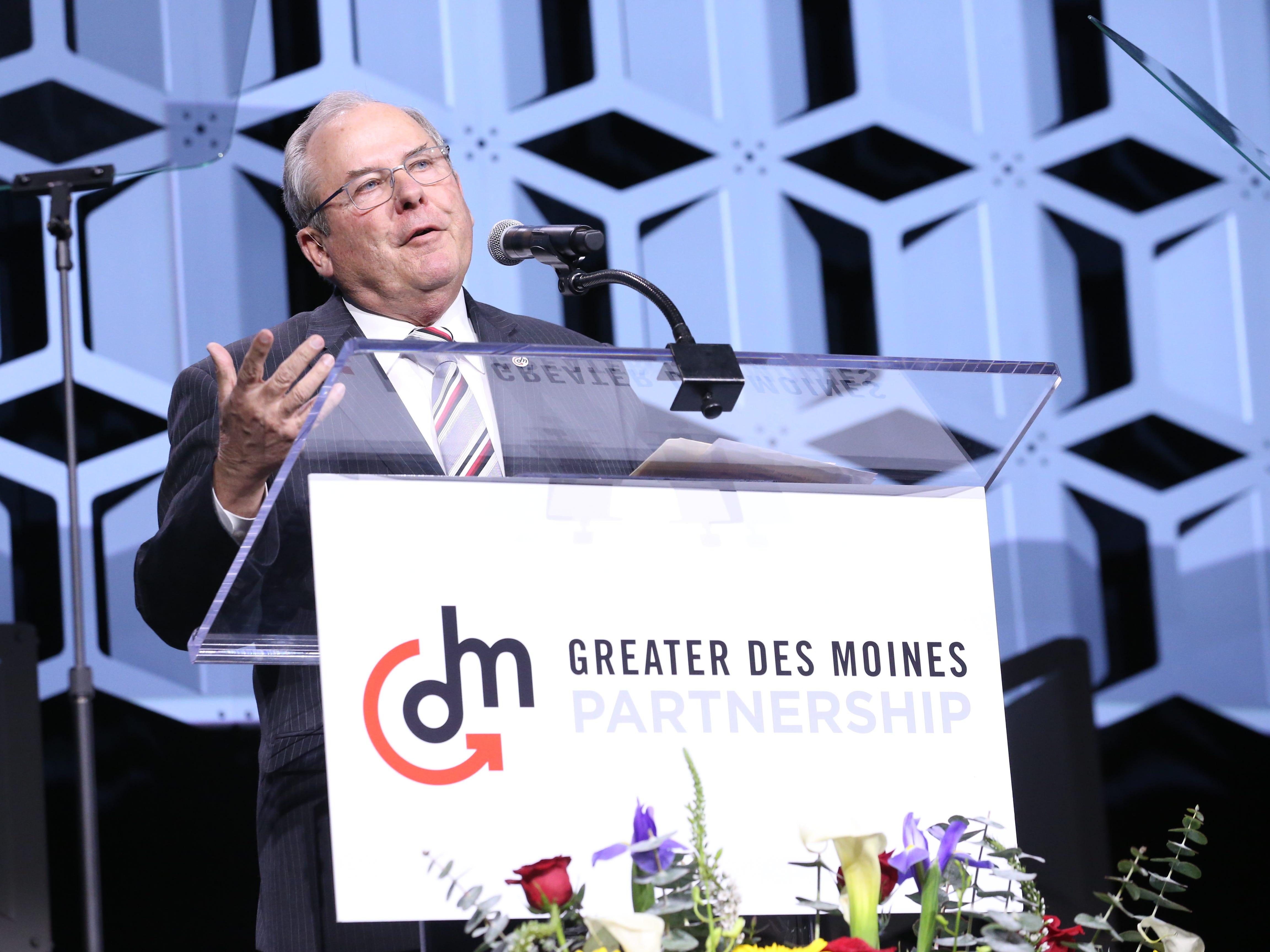 Greater Des Moines Partnership President Gene Meyer speaks at the Partnership's Annual Dinner on January 17, 2019.