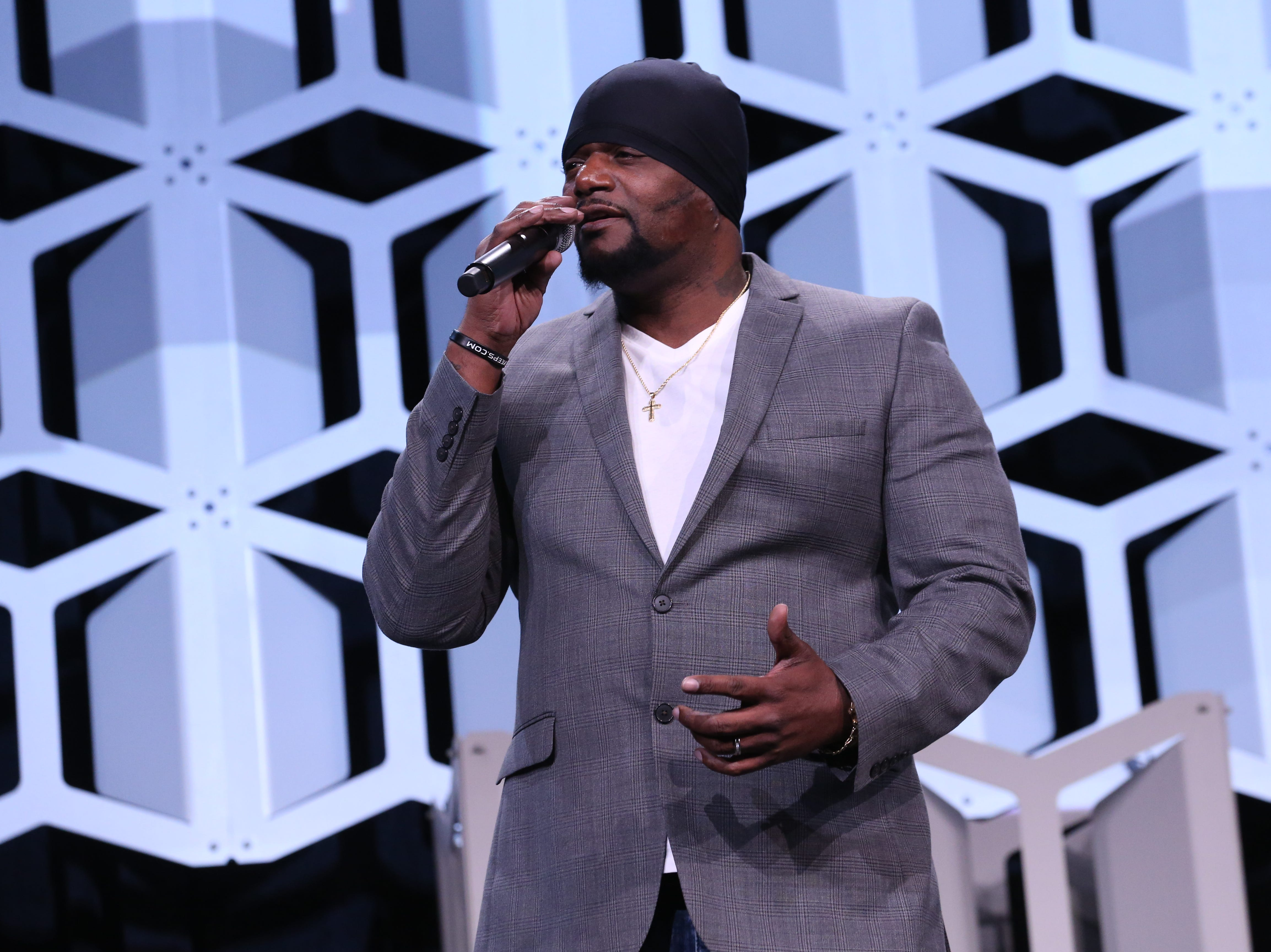 Artist and community activist Will Keeps, who produced a music video for the event, addresses the crowd at Partnership's Annual Dinner on January 17, 2019 at the Iowa Events Center.